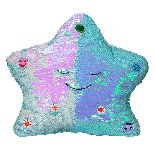 Flippable Sequins My Dua' Pillow – Light Blue & Pearl